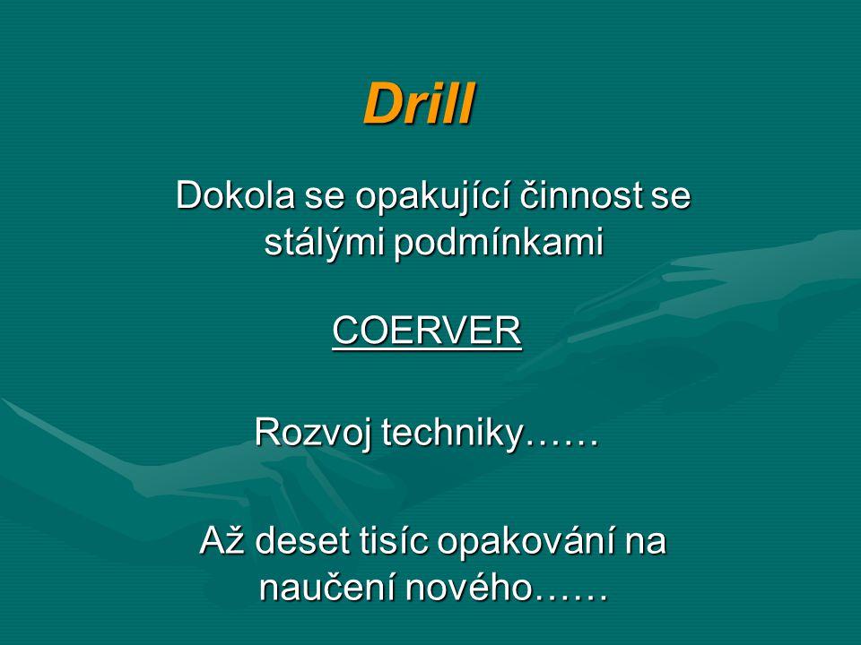 Drill Dokola se opakující činnost se stálými podmínkami COERVER Až deset tisíc opakování na naučení nového…… Rozvoj techniky……