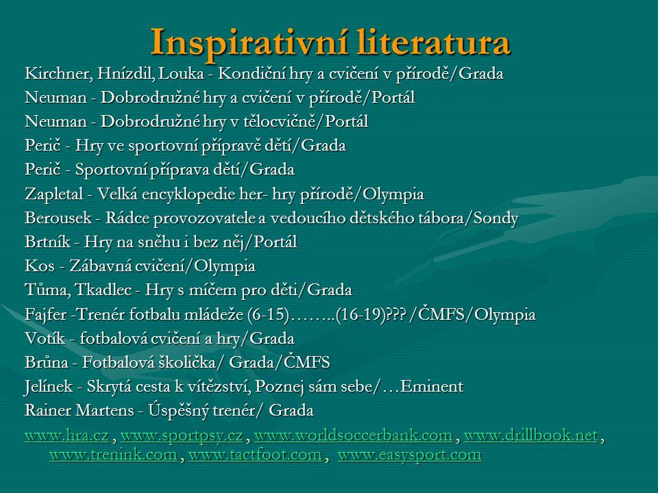 Inspirativní literatura Kirchner, Hnízdil, Louka - Kondiční hry a cvičení v přírodě/Grada Neuman - Dobrodružné hry a cvičení v přírodě/Portál Neuman -