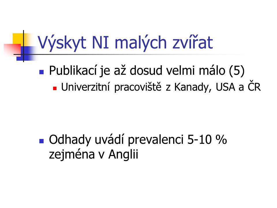 Výskyt NI malých zvířat Publikací je až dosud velmi málo (5) Univerzitní pracoviště z Kanady, USA a ČR Odhady uvádí prevalenci 5-10 % zejména v Anglii