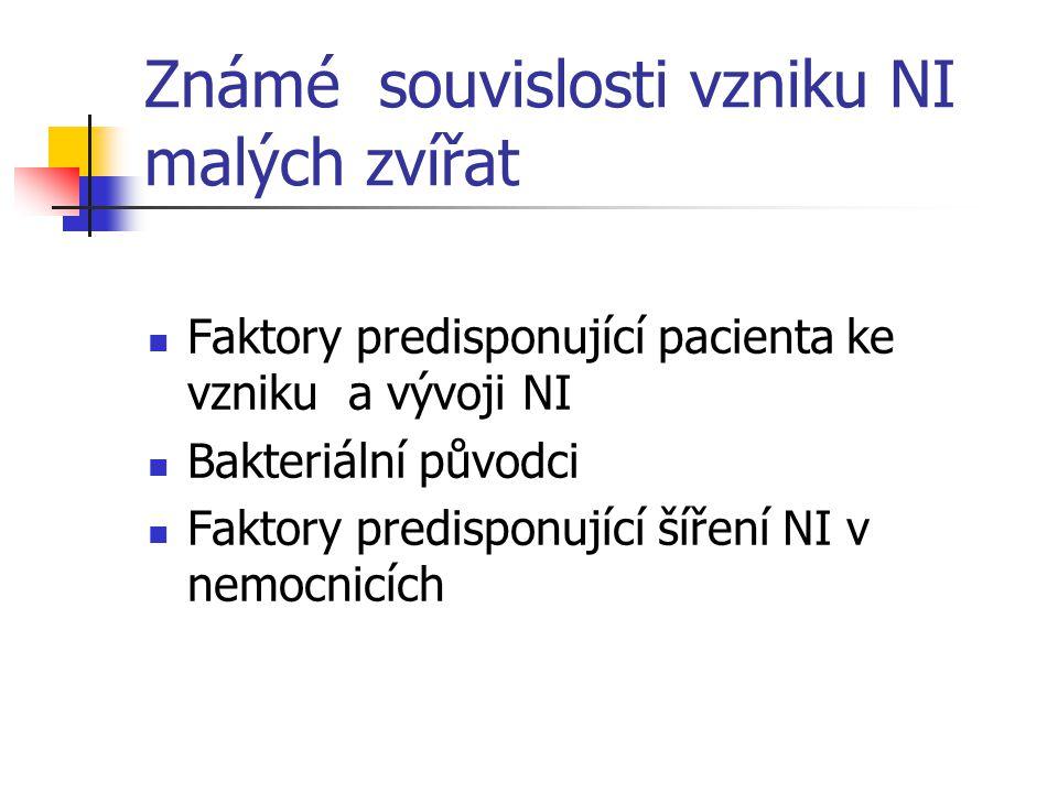 Známé souvislosti vzniku NI malých zvířat Faktory predisponující pacienta ke vzniku a vývoji NI Bakteriální původci Faktory predisponující šíření NI v nemocnicích