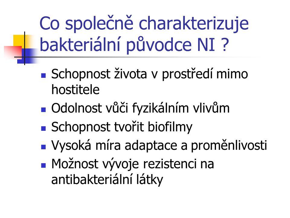 Co společně charakterizuje bakteriální původce NI .