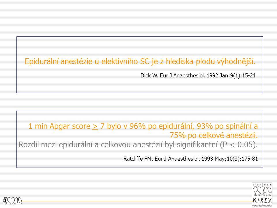 Epidurální anestézie u elektivního SC je z hlediska plodu výhodnější. Dick W. Eur J Anaesthesiol. 1992 Jan;9(1):15-21 1 min Apgar score > 7 bylo v 96%