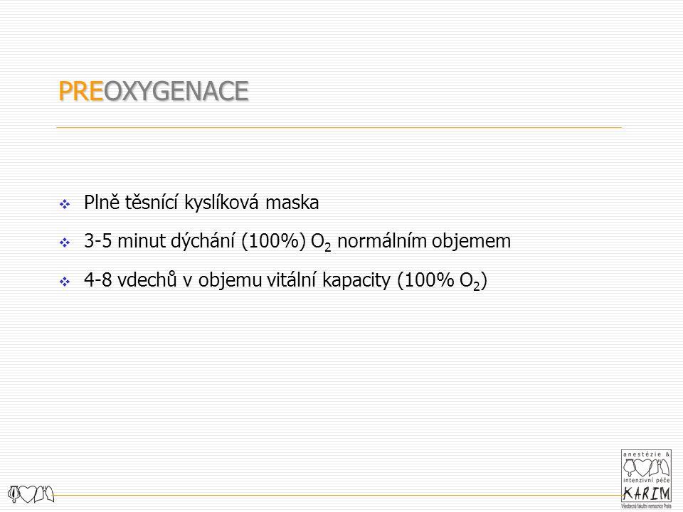  Plně těsnící kyslíková maska  3-5 minut dýchání (100%) O 2 normálním objemem  4-8 vdechů v objemu vitální kapacity (100% O 2 ) PREOXYGENACE