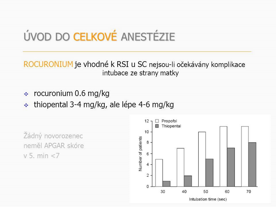 ROCURONIUM je vhodné k RSI u SC nejsou-li očekávány komplikace intubace ze strany matky  rocuronium 0.6 mg/kg  thiopental 3-4 mg/kg, ale lépe 4-6 mg