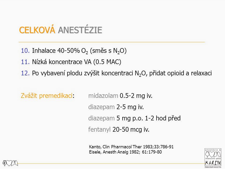 CELKOVÁ ANESTÉZIE 10.Inhalace 40-50% O 2 (směs s N 2 O) 11.Nízká koncentrace VA (0.5 MAC) 12.Po vybavení plodu zvýšit koncentraci N 2 O, přidat opioid