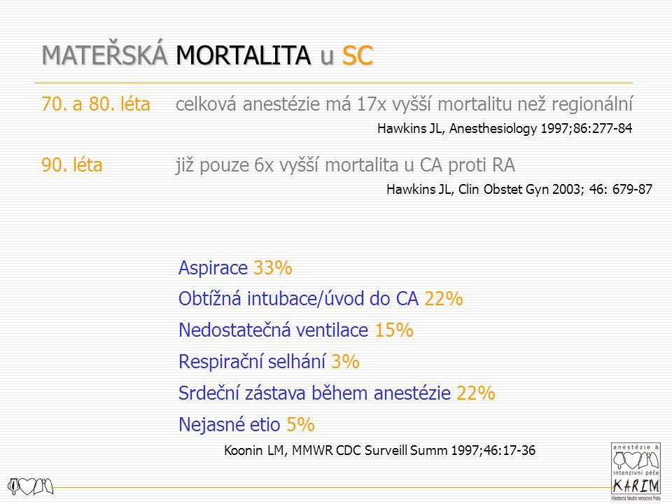 MATEŘSKÁ MORTALITA u SC 70. a 80. létacelková anestézie má 17x vyšší mortalitu než regionální Hawkins JL, Anesthesiology 1997;86:277-84 90. létajiž po