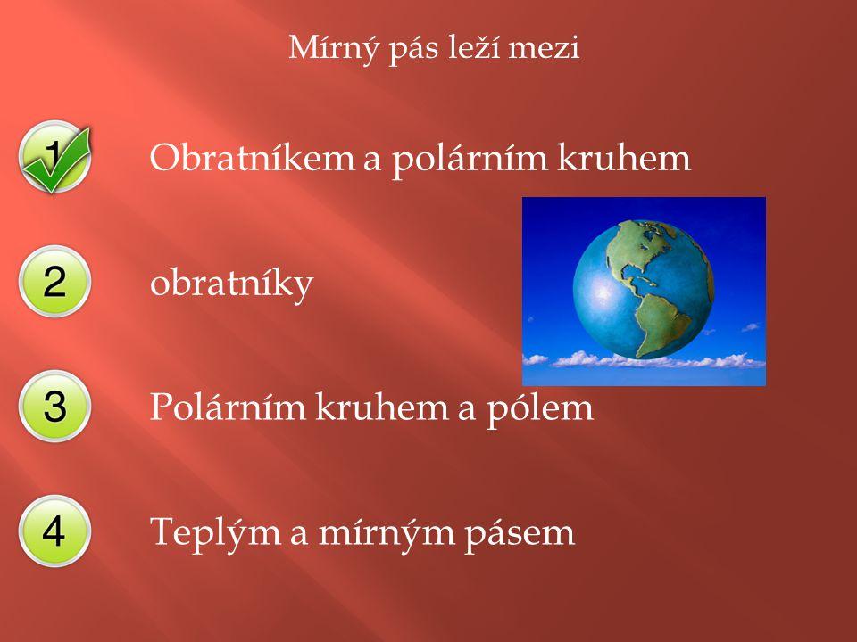 Mírný pás leží mezi Obratníkem a polárním kruhem obratníky Polárním kruhem a pólem Teplým a mírným pásem