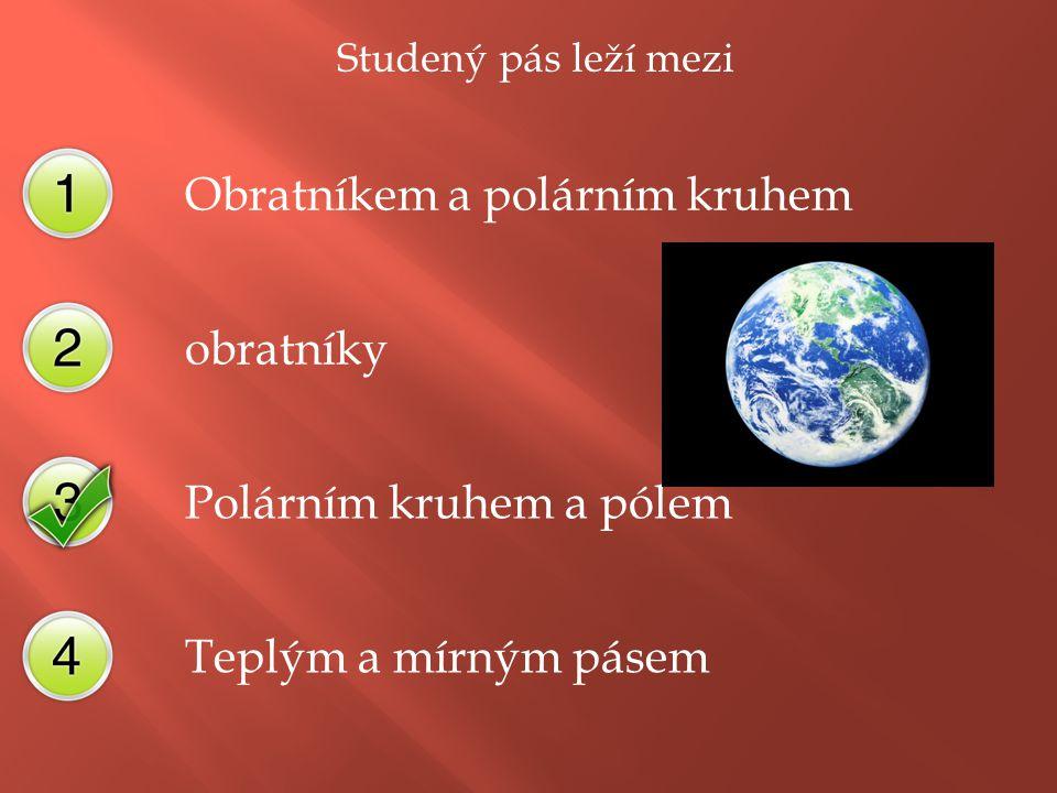 Subtropický pás leží mezi Obratníkem a polárním kruhem obratníky Polárním kruhem a pólem Teplým a mírným pásem