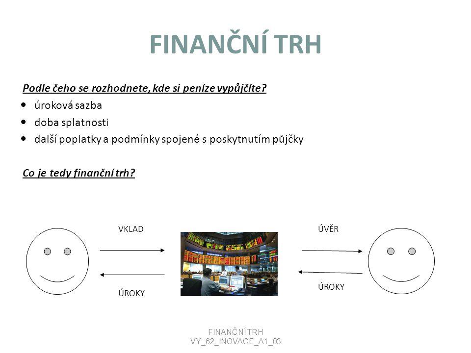 FINANČNÍ TRH Finanční trh je místo, kde se střetává nabídka finančního kapitálu s poptávkou po něm.