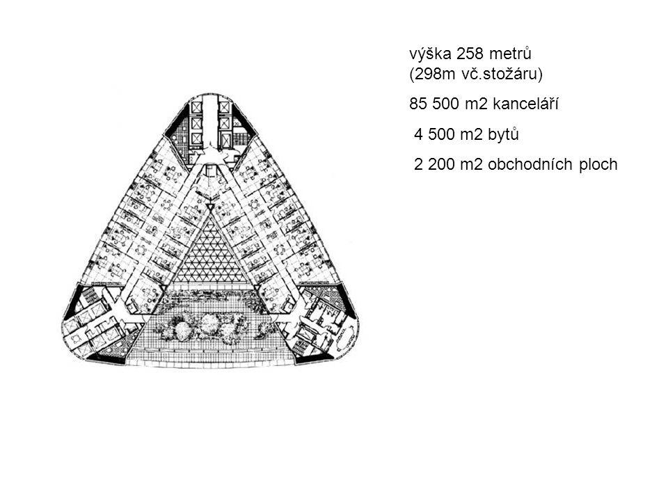 výška 258 metrů (298m vč.stožáru) 85 500 m2 kanceláří 4 500 m2 bytů 2 200 m2 obchodních ploch