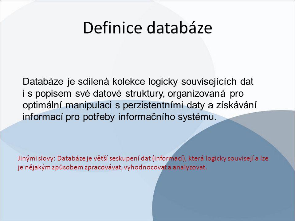Definice databáze Jinými slovy: Databáze je větší seskupení dat (informací), která logicky souvisejí a lze je nějakým způsobem zpracovávat, vyhodnocov