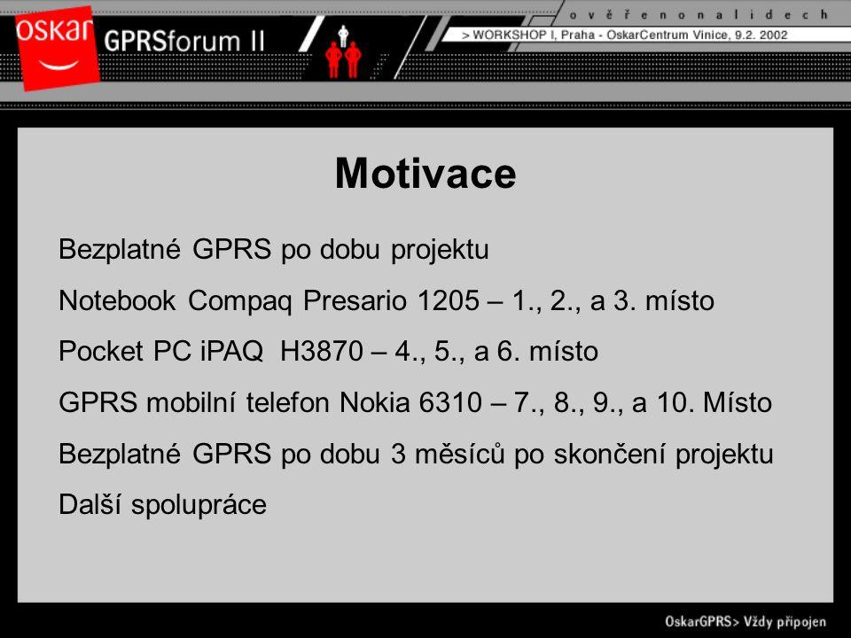 Motivace Bezplatné GPRS po dobu projektu Notebook Compaq Presario 1205 – 1., 2., a 3.