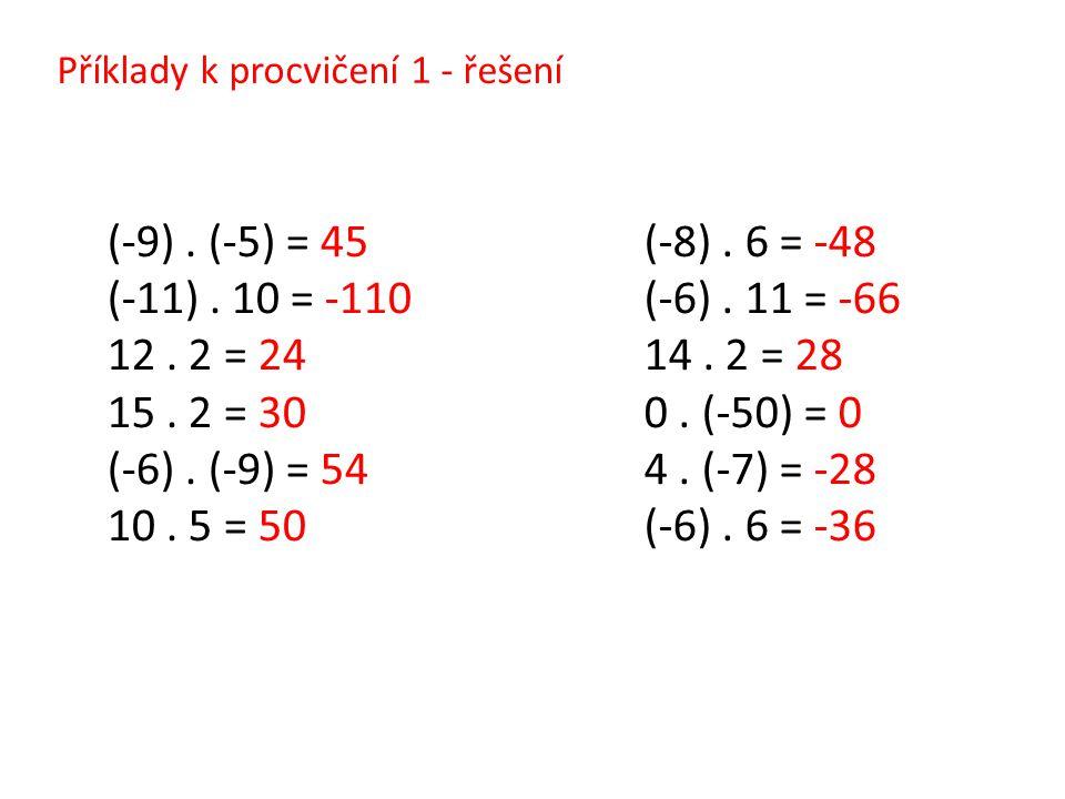 Příklady k procvičení 1 - řešení (-9). (-5) = 45 (-11). 10 = -110 12. 2 = 24 15. 2 = 30 (-6). (-9) = 54 10. 5 = 50 (-8). 6 = -48 (-6). 11 = -66 14. 2
