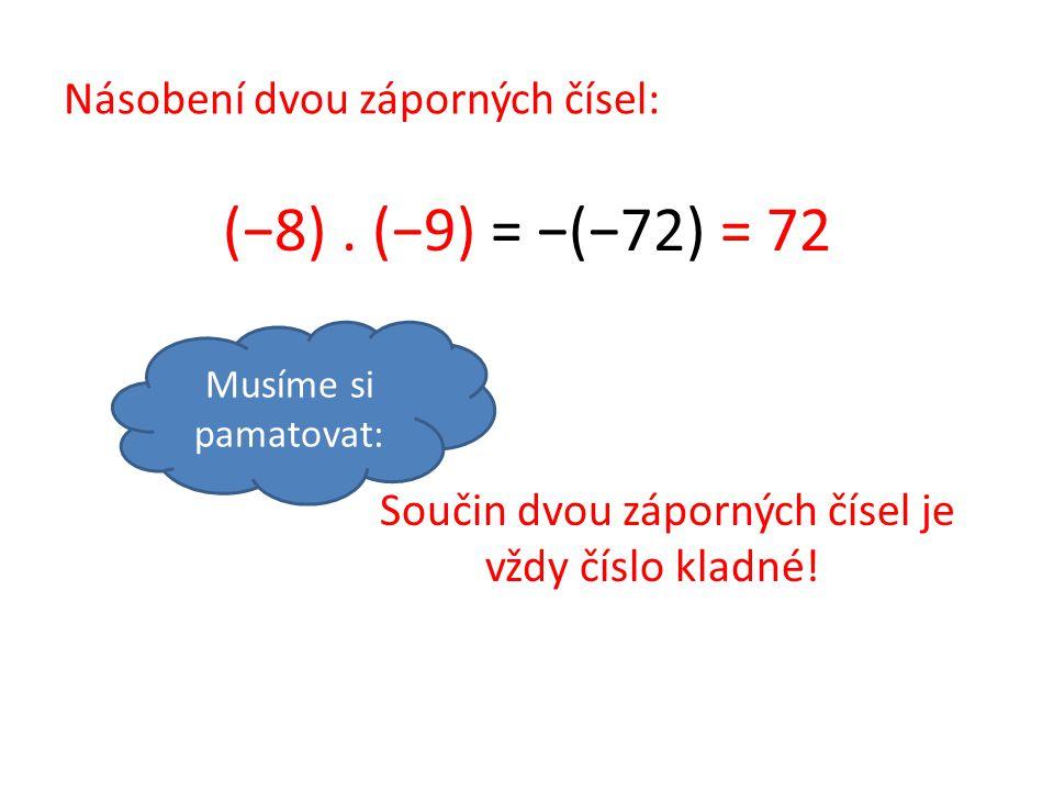 Násobení dvou záporných čísel: (−8). (−9) = −(−72) = 72 Součin dvou záporných čísel je vždy číslo kladné! Musíme si pamatovat: