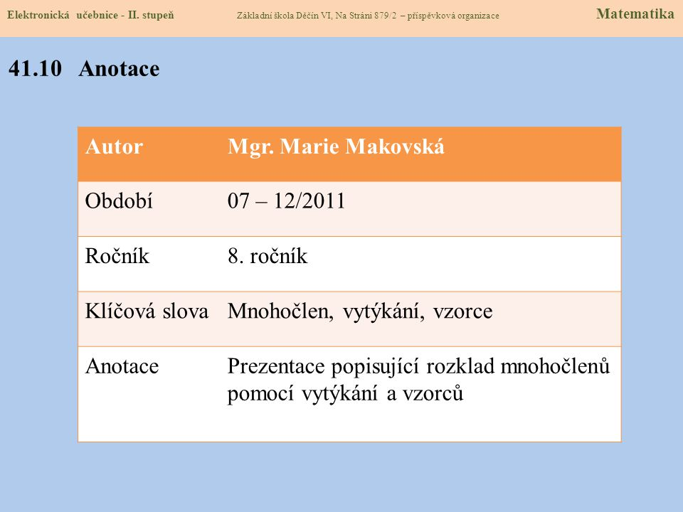 Matematika 1 pro 8. ročník základní školy, Odvárko O., Kadleček J., Prometheus, Praha, 1999 http://dum.rvp.cz/materialy/rozklad-mnohoclenu-na-soucin-v