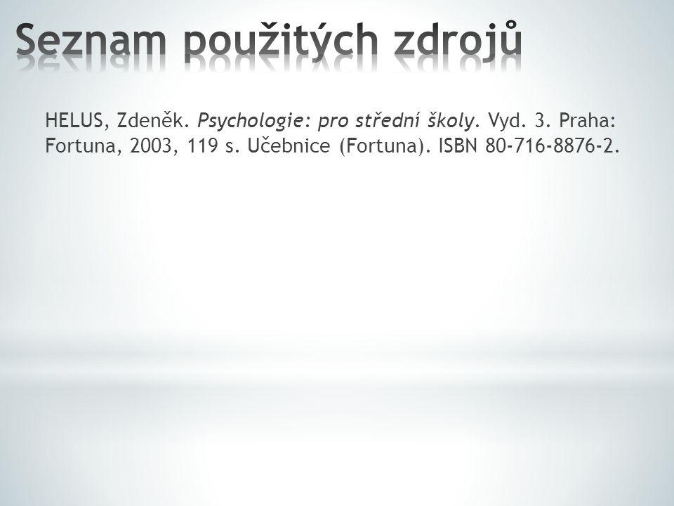 HELUS, Zdeněk. Psychologie: pro střední školy. Vyd. 3. Praha: Fortuna, 2003, 119 s. Učebnice (Fortuna). ISBN 80-716-8876-2.