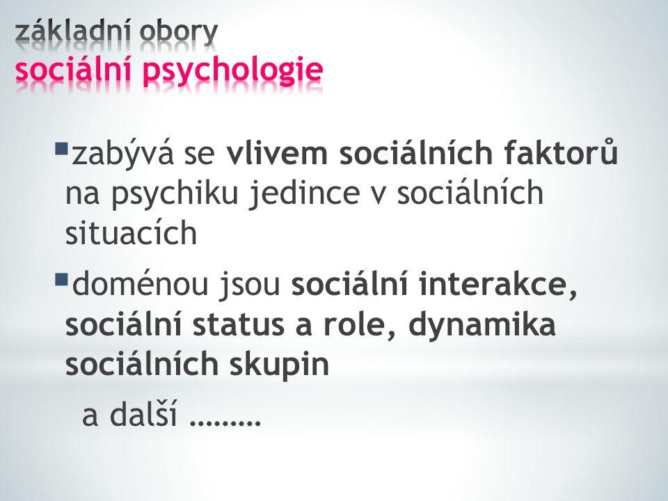  zabývá se vlivem sociálních faktorů na psychiku jedince v sociálních situacích  doménou jsou sociální interakce, sociální status a role, dynamika s
