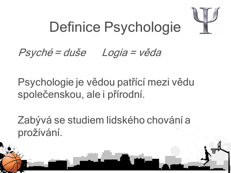 Definice Psychologie sportu specializovaná psychologická vědní disciplína mezioborová vědní disciplína (součástí psychologických věd a věd o tělesné kultuře) Obor aplikované psychologie, který se zabývá tréninkem, výkonností sportovce, osobností sportovce apod.