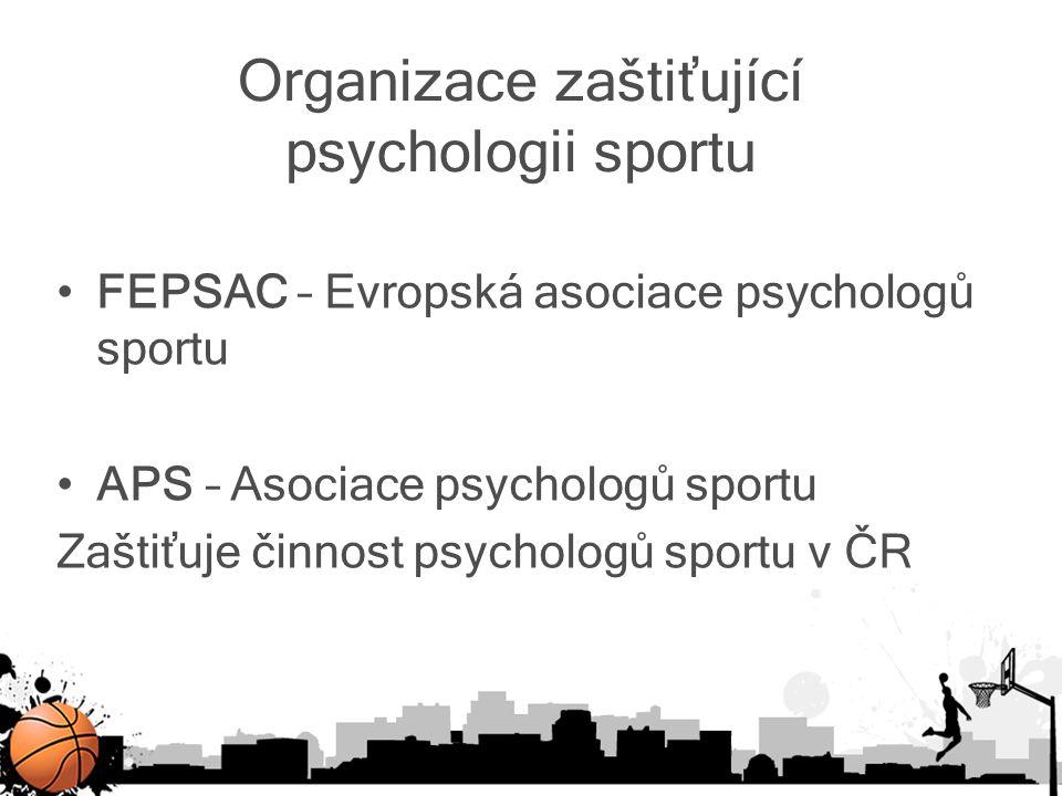 Organizace zaštiťující psychologii sportu FEPSAC – Evropská asociace psychologů sportu APS – Asociace psychologů sportu Zaštiťuje činnost psychologů s
