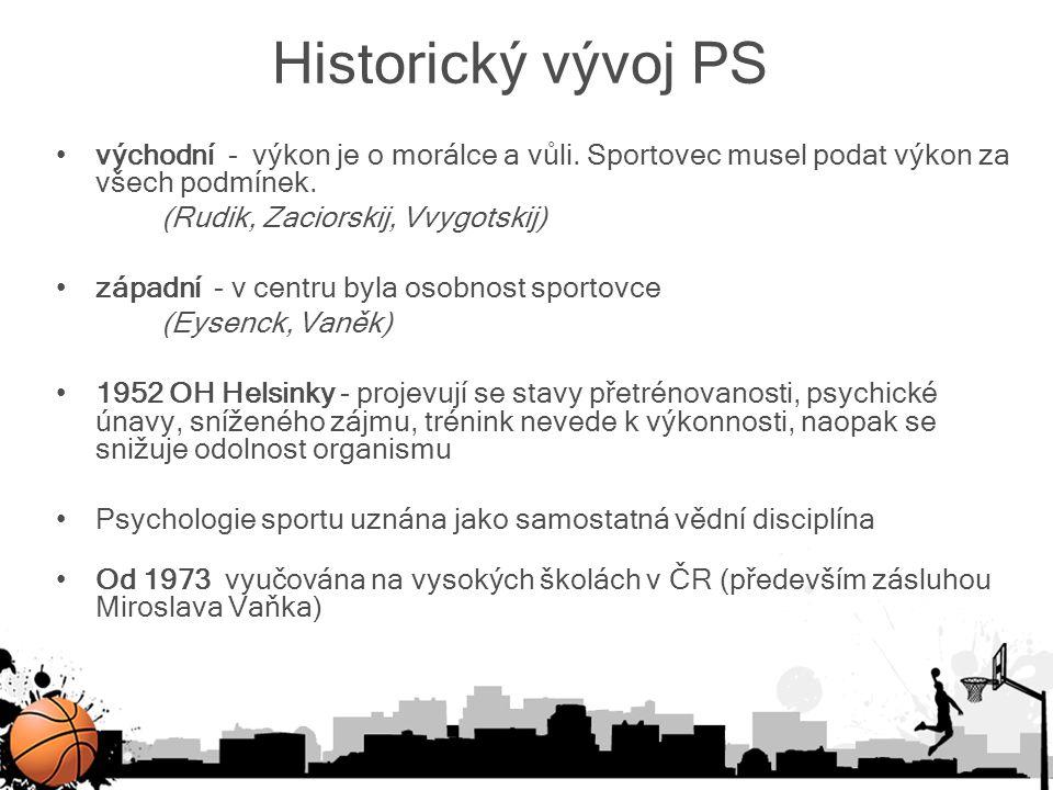 Historický vývoj PS východní - výkon je o morálce a vůli. Sportovec musel podat výkon za všech podmínek. (Rudik, Zaciorskij, Vvygotskij) západní - v c