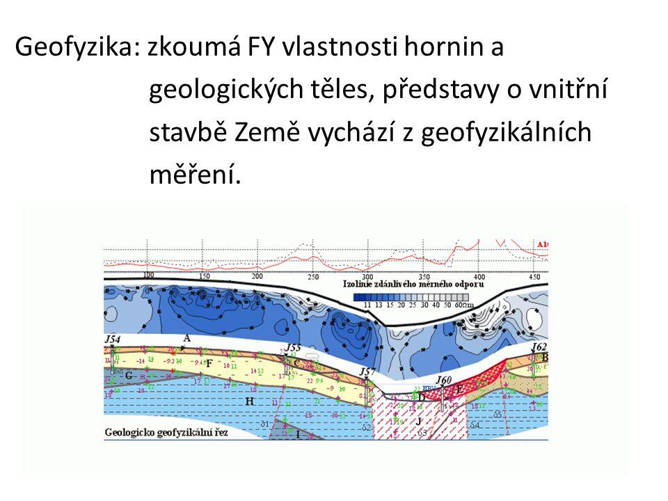 Geofyzika: zkoumá FY vlastnosti hornin a geologických těles, představy o vnitřní stavbě Země vychází z geofyzikálních měření.