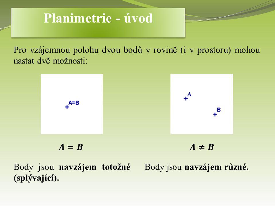 Pro vzájemnou polohu dvou bodů v rovině (i v prostoru) mohou nastat dvě možnosti: Body jsou navzájem totožné (splývající).