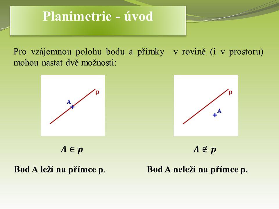 Pro vzájemnou polohu bodu a přímky v rovině (i v prostoru) mohou nastat dvě možnosti: Bod A leží na přímce p.Bod A neleží na přímce p.