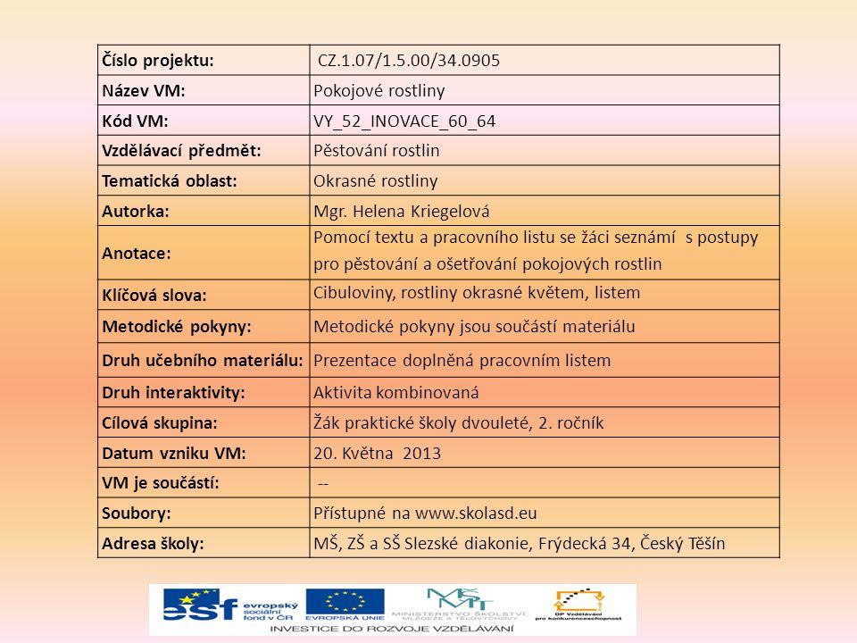 Číslo projektu: CZ.1.07/1.5.00/34.0905 Název VM:Pokojové rostliny Kód VM:VY_52_INOVACE_60_64 Vzdělávací předmět:Pěstování rostlin Tematická oblast:Okrasné rostliny Autorka:Mgr.