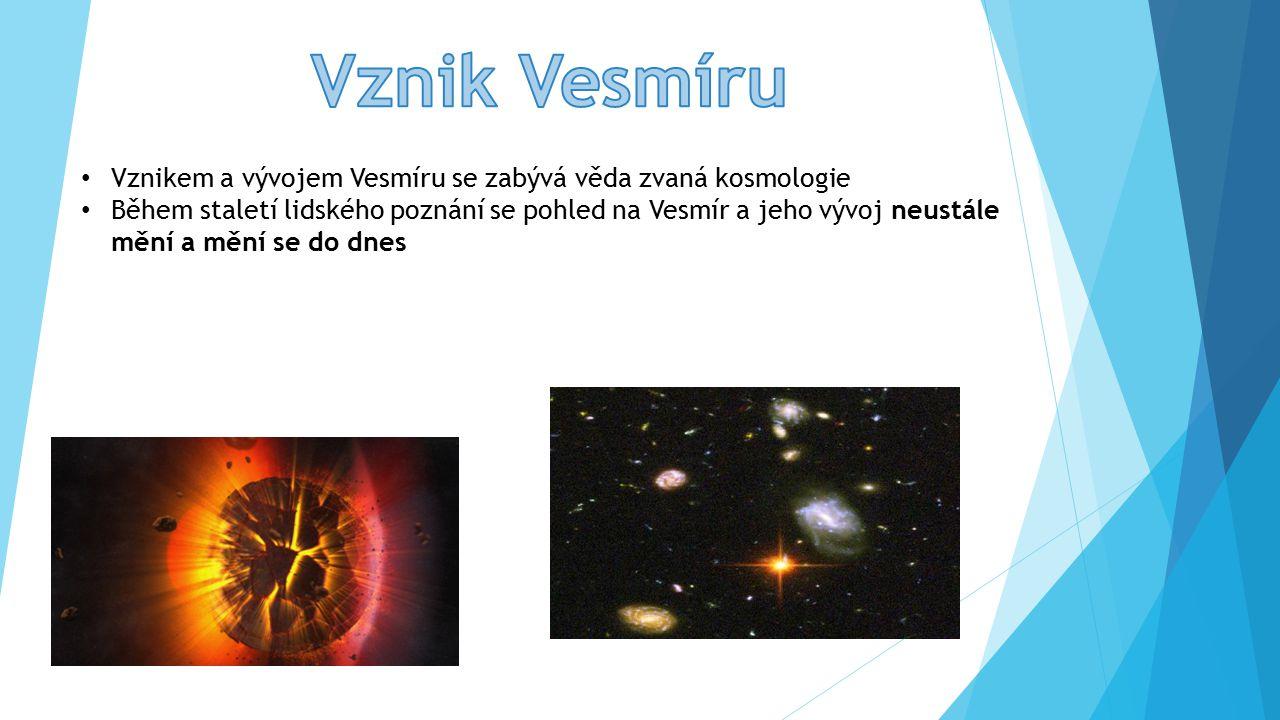 Vznikem a vývojem Vesmíru se zabývá věda zvaná kosmologie Během staletí lidského poznání se pohled na Vesmír a jeho vývoj neustále mění a mění se do dnes