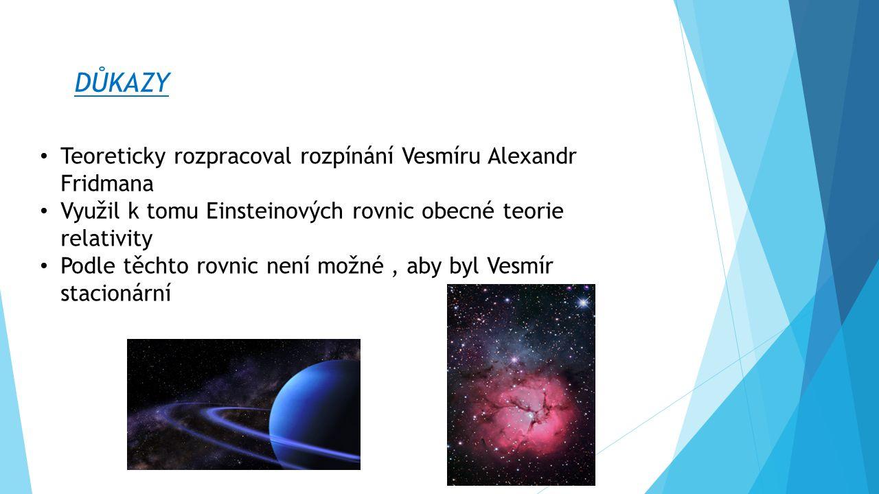DŮKAZY Teoreticky rozpracoval rozpínání Vesmíru Alexandr Fridmana Využil k tomu Einsteinových rovnic obecné teorie relativity Podle těchto rovnic není možné, aby byl Vesmír stacionární