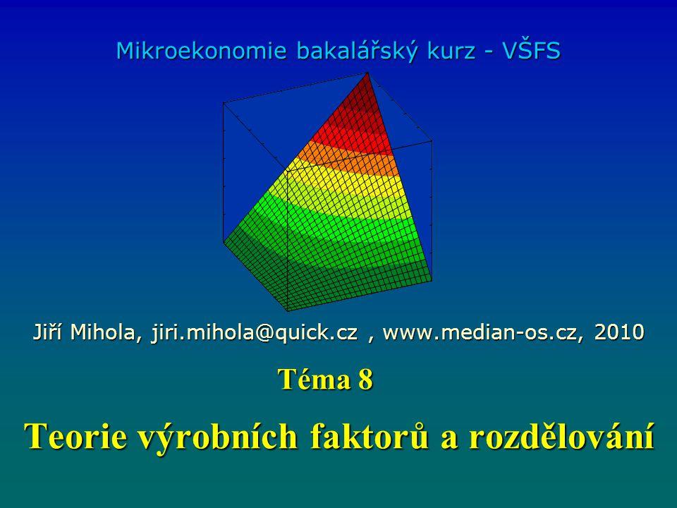 Teorie výrobních faktorů a rozdělování Mikroekonomie bakalářský kurz - VŠFS Jiří Mihola, jiri.mihola@quick.cz, www.median-os.cz, 2010 Téma 8