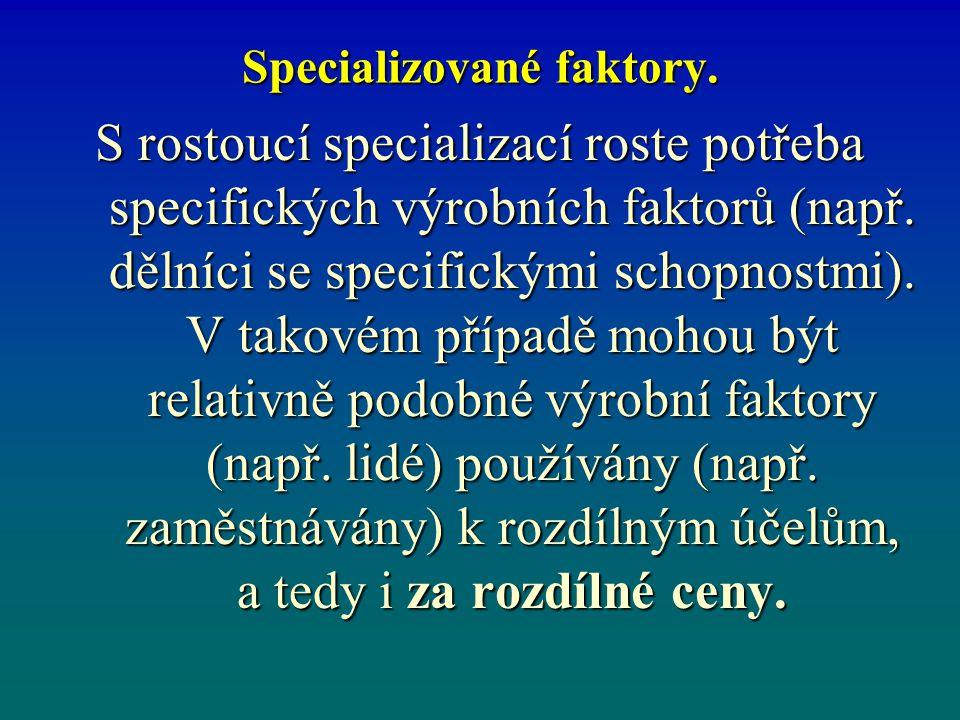 Specializované faktory.S rostoucí specializací roste potřeba specifických výrobních faktorů (např.