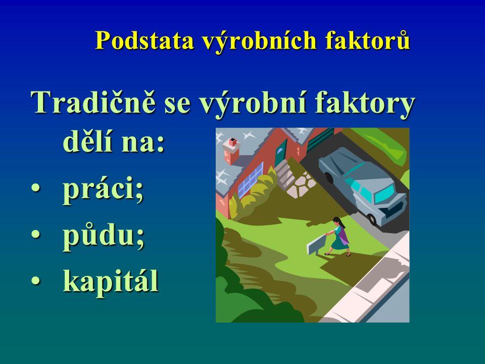 Výrobní faktory lze dělit na: prvotní výrobní faktory dané přírodou, kterými jsou půda a práce (zde schopnost pracovat).