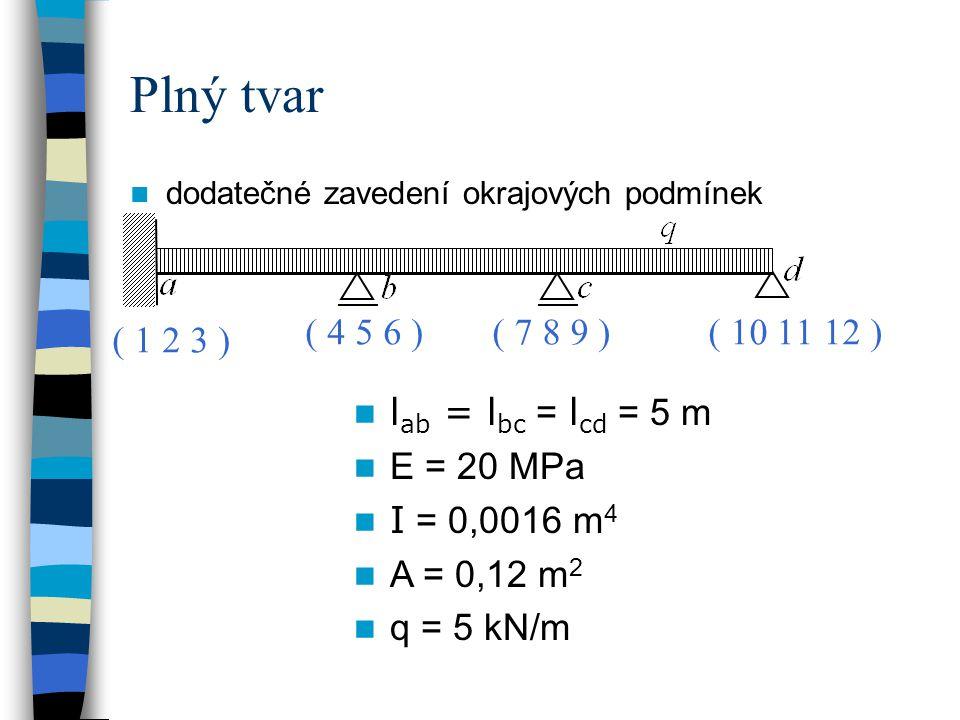 Plný tvar dodatečné zavedení okrajových podmínek   l ab = l bc = l cd = 5 m E = 20 MPa I = 0,0016 m 4 A = 0,12 m 2 q = 5 kN/m