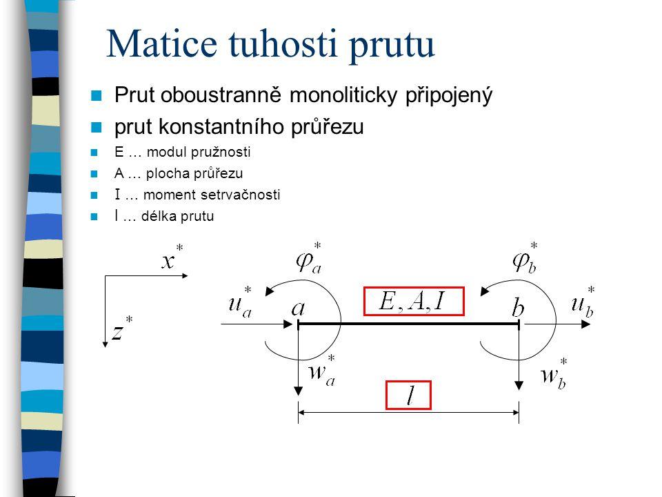 Matice tuhosti prutu Prut oboustranně monoliticky připojený prut konstantního průřezu E … modul pružnosti A … plocha průřezu I … moment setrvačnosti l … délka prutu