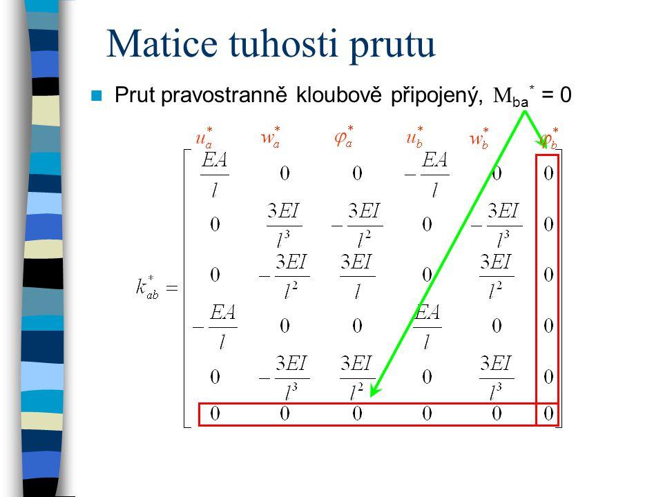 Matice tuhosti prutu Prut pravostranně kloubově připojený,  ba * = 0
