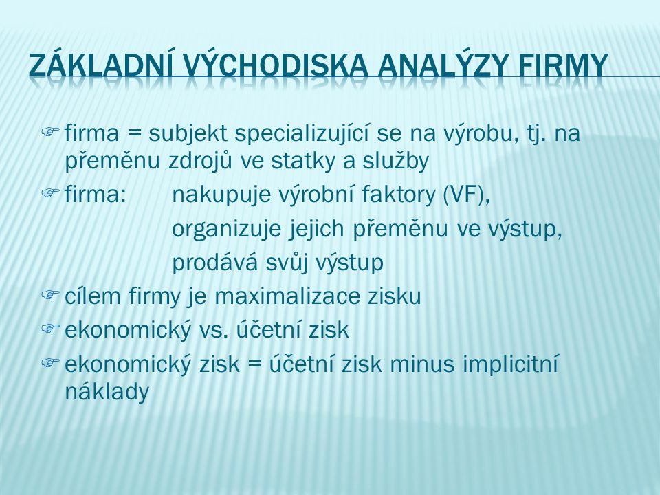 ffirma = subjekt specializující se na výrobu, tj.