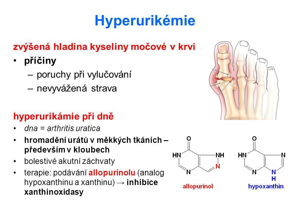 Hyperurikémie zvýšená hladina kyseliny močové v krvi příčiny –poruchy při vylučování –nevyvážená strava hyperurikámie při dně dna = arthritis uratica
