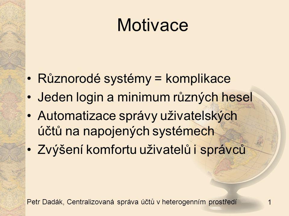 1 Petr Dadák, Centralizovaná správa účtů v heterogenním prostředí Motivace Různorodé systémy = komplikace Jeden login a minimum různých hesel Automati