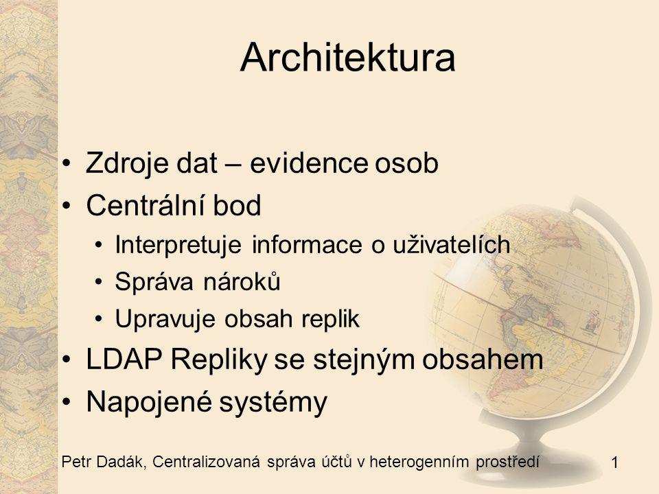 1 Petr Dadák, Centralizovaná správa účtů v heterogenním prostředí Architektura Zdroje dat – evidence osob Centrální bod Interpretuje informace o uživatelích Správa nároků Upravuje obsah replik LDAP Repliky se stejným obsahem Napojené systémy