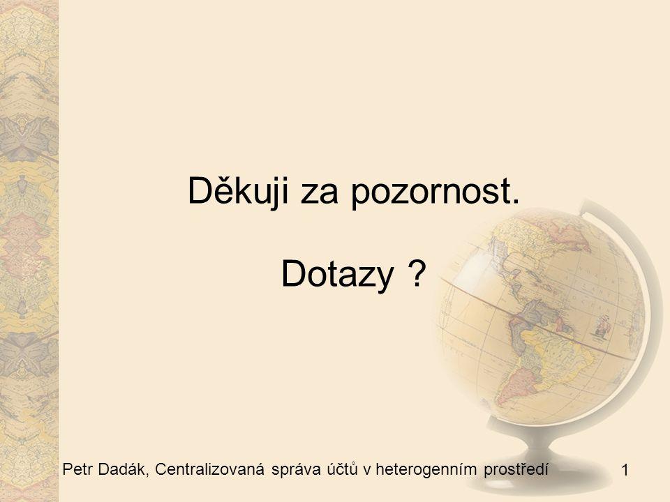 1 Petr Dadák, Centralizovaná správa účtů v heterogenním prostředí Děkuji za pozornost. Dotazy ?
