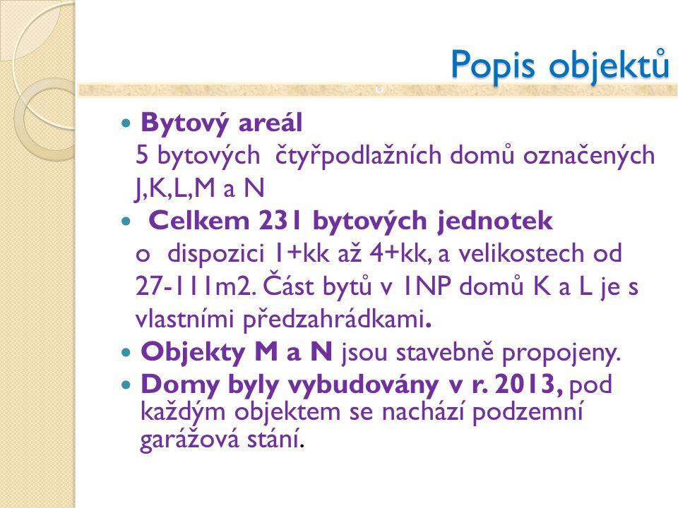 c Popis objektů Bytový areál 5 bytových čtyřpodlažních domů označených J,K,L,M a N Celkem 231 bytových jednotek o dispozici 1+kk až 4+kk, a velikostec