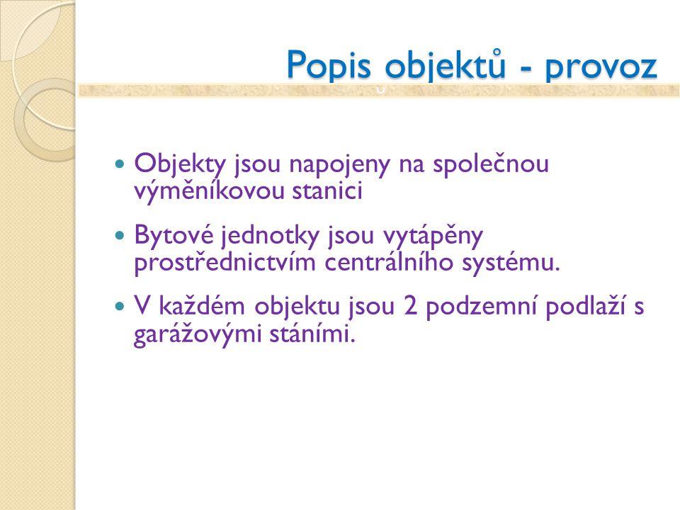 Popis objektů - provoz Objekty jsou napojeny na společnou výměníkovou stanici Bytové jednotky jsou vytápěny prostřednictvím centrálního systému. V kaž