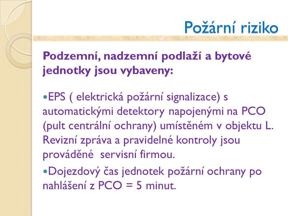 Požární riziko Podzemní, nadzemní podlaží a bytové jednotky jsou vybaveny: EPS ( elektrická požární signalizace) s automatickými detektory napojenými