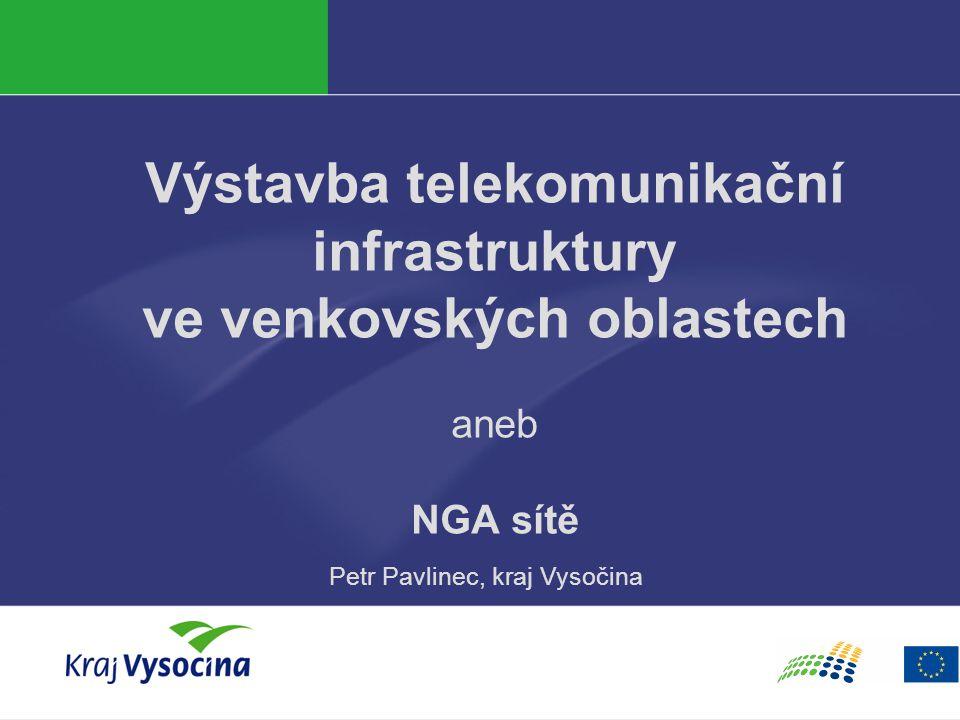 Veřejný sektor jako investor Městské sítě  Obrovské množství provozních a investičních modelů  Velký potenciál pro rozvoj FTTx infrastruktury, ale i ohrožení  Často kontroverzní aktivity z pohledu trhu, časté politikum  Nástup konceptu NGN a Open Acces Network  Na národní úrovni neexistuje (zatím) metodické vedení  Speciální role stavebních a silničních úřadů, koordinace s výstavbou a opravami  možná úspěšná koexistence veřejných a privátních aktivit  nutnost transparentního přístupu a hospodaření s prostorem  problematické investice – CATV, WiMAX, podcenění projekční fáze  neudržitelnost některých modelů – FTTx na sloupech.