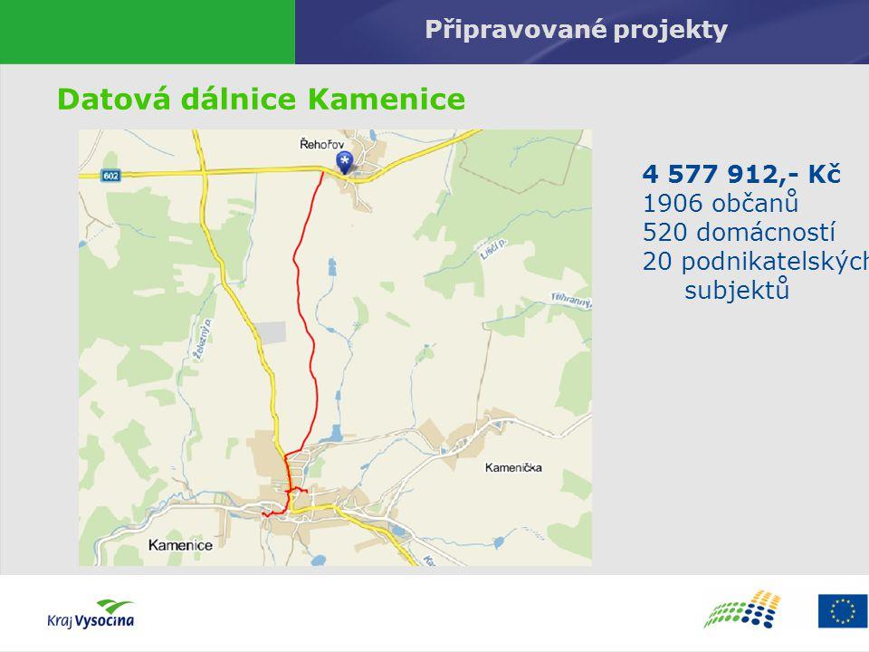 Připravované projekty Datová dálnice Kamenice 4 577 912,- Kč 1906 občanů 520 domácností 20 podnikatelských subjektů
