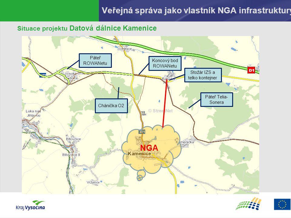 Veřejná správa jako vlastník NGA infrastruktury Situace projektu Datová dálnice Kamenice NGA Koncový bod ROWANetu Chánička O2 Páteř Telia- Sonera Páte