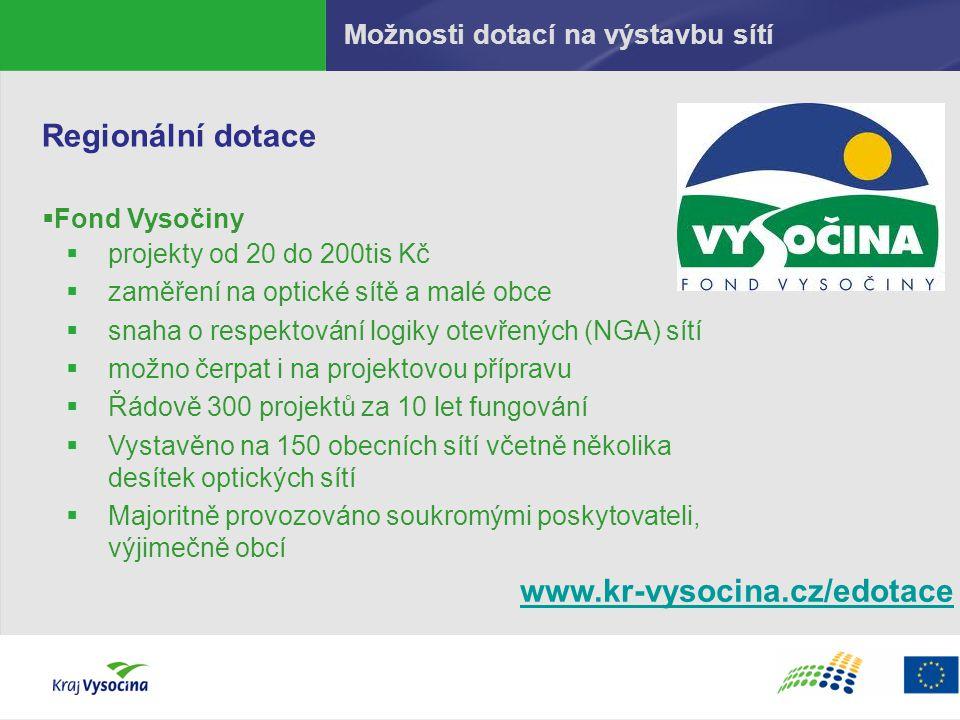 Možnosti dotací na výstavbu sítí Regionální dotace  Fond Vysočiny  projekty od 20 do 200tis Kč  zaměření na optické sítě a malé obce  snaha o resp