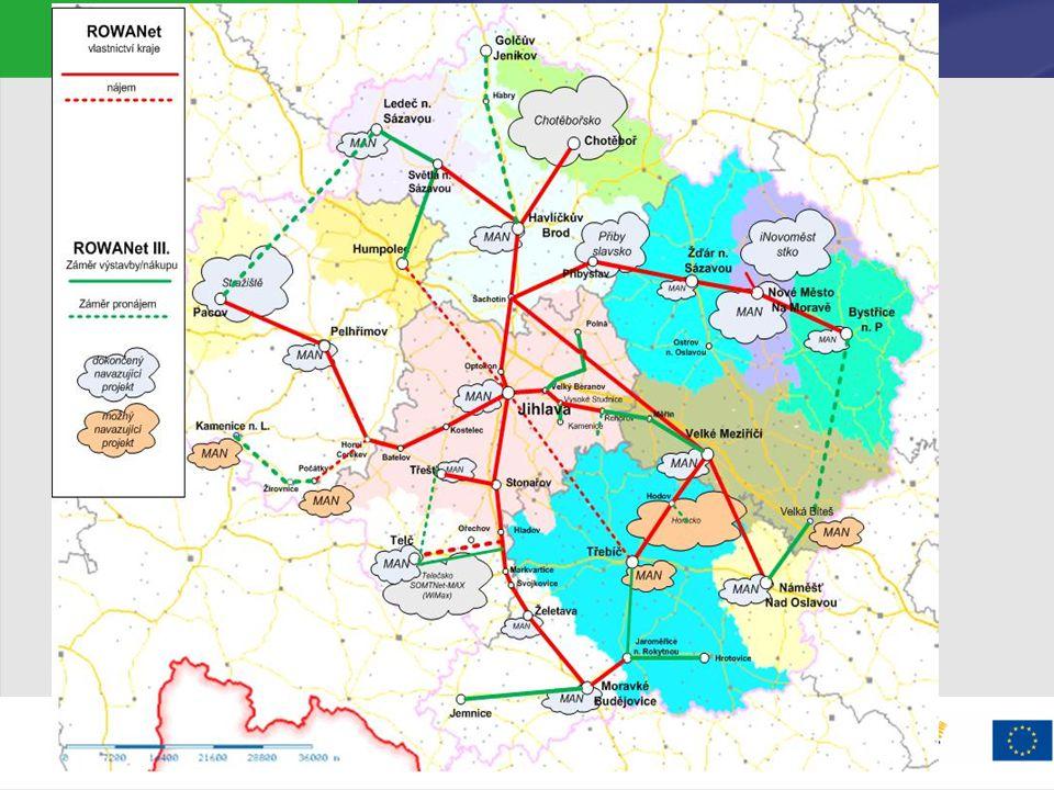 Možnosti financování – ROP, IOP Integrovaný operační program  Zaměřeno výhradně na veřejnou správu a veřejné služby  Projekty krajů – až 500mil Kč do regionální infrastruktury  Výzva listopad 2009  Projekty měst – až 800mil Kč  Výzva prosinec 2009 Regionální operační program  podpora telco infrastruktury výhradně v NUTS II.