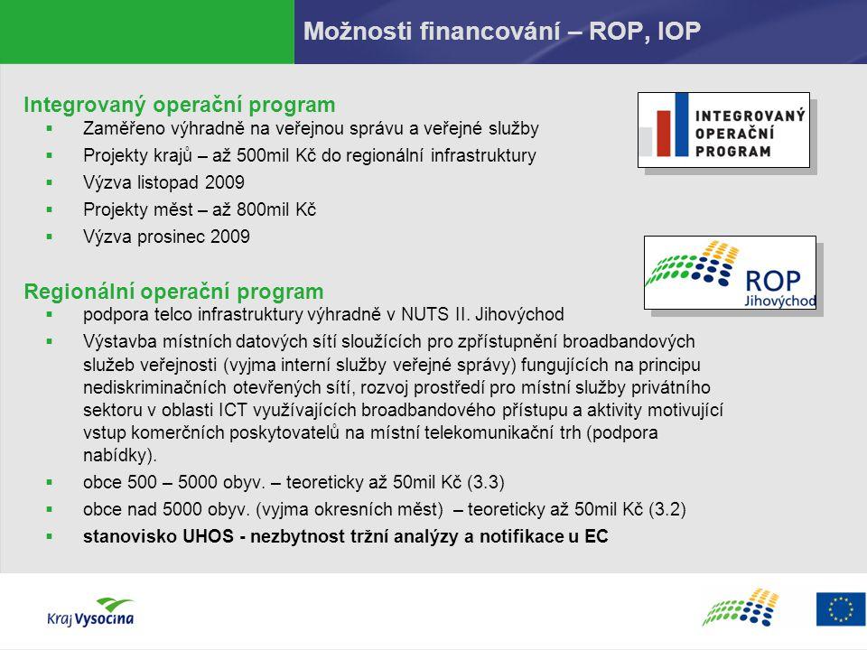 Možnosti financování – ROP, IOP Integrovaný operační program  Zaměřeno výhradně na veřejnou správu a veřejné služby  Projekty krajů – až 500mil Kč d